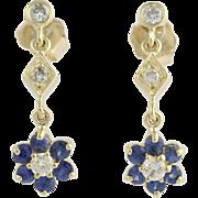NEW Floral Sapphire & Diamond Drop Earrings 14k Yellow Gold Pierced Fine 1.36ctw