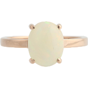 Opal Solitaire Ring - 14k Rose Gold October Gift 7 1/4 Genuine 1.90ctw