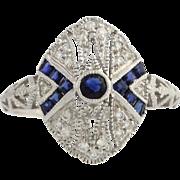 Sapphire & Diamond Cocktail Ring - 18k White Gold Women's 6 3/4 Genuine .65ctw
