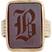 Victorian Carved Hardstone Intaglio Initial B Ring - 14k & 10k Yellow Gold 8 3/4