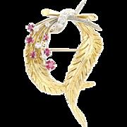 Feather Wreath Brooch - 18k Yellow Gold Platinum Diamond Ruby High Karat 1.08ctw
