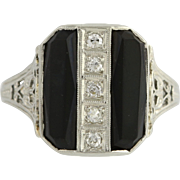 Art Deco Onyx & Diamond Cocktail Ring - 18k White Gold Size 5 3/4 Genuine .10ctw