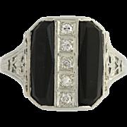 Art Deco Onyx & Diamond Cocktail Ring - 18k White Gold Size 5 3/4 Genuine .10ctw