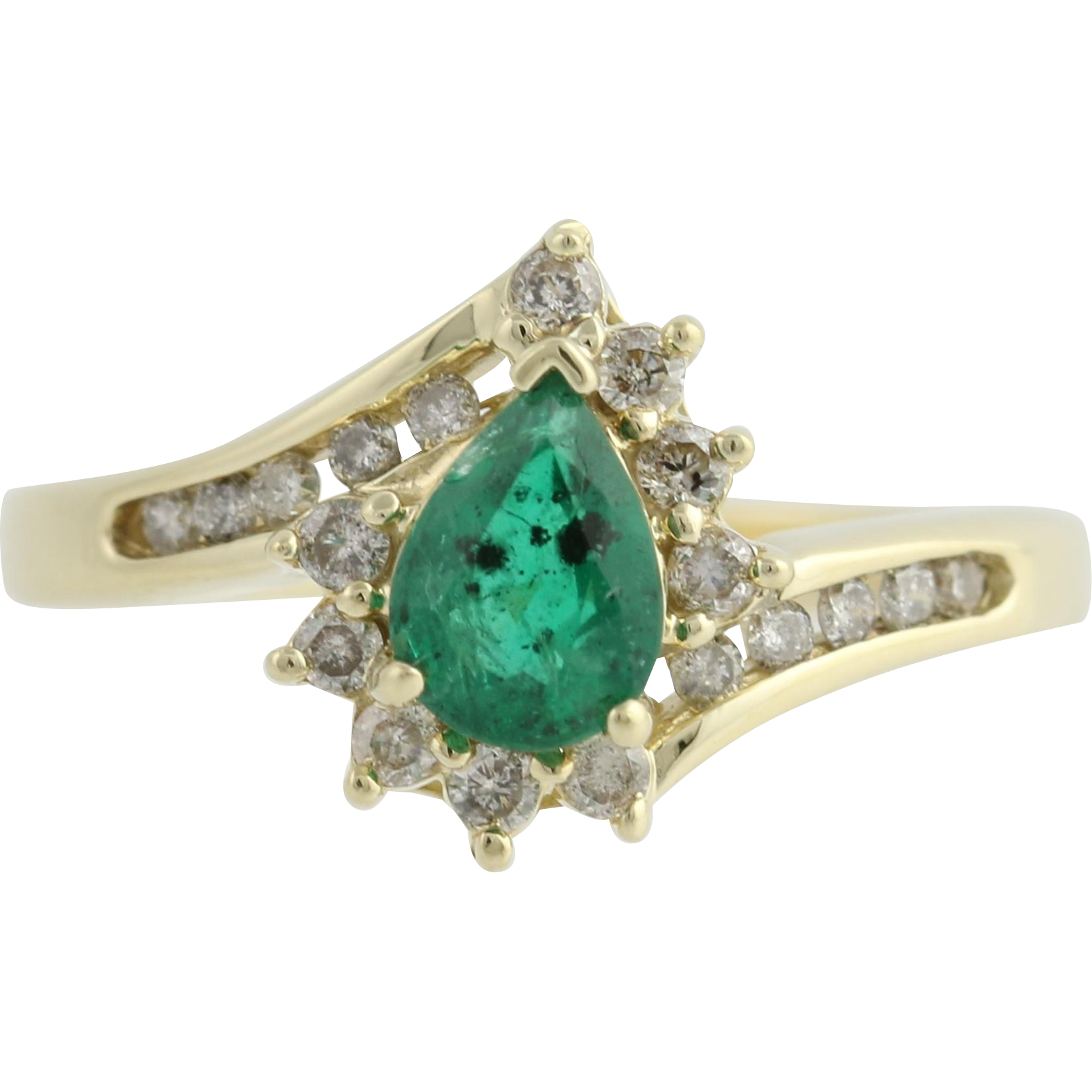 Emerald & Diamond Ring - 14k Yellow Gold Bypass Band Pear Solitaire 1ctw Women's