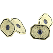 Art Deco Era Cuff Links - 14k Yellow Gold Sapphires & Enamel Genuine 1.20ctw