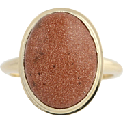 Vintage Goldstone Cocktail Ring - 14k Yellow Gold Fine Gift Women's Size 5 3/4