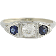 Art Deco Diamond & Sapphire Ring -18k & 14k White Gold Fine 0.63ctw Engagement