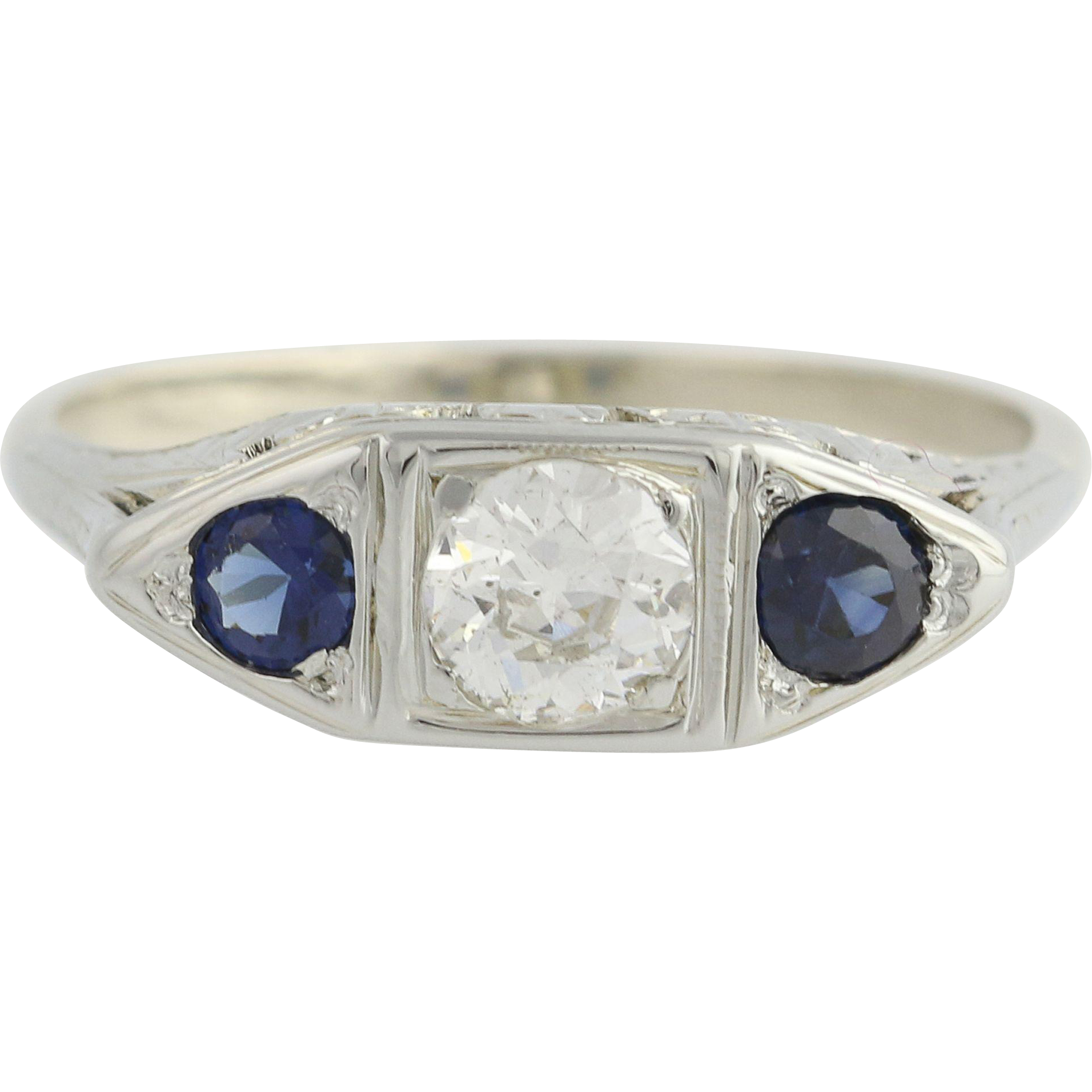 Art Deco Diamond & Sapphire Ring -18k & 14k White Gold Fine 0.63ctw Engagement