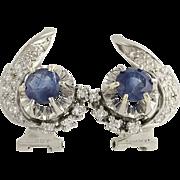 Retro Sapphire & Diamond Earrings - Platinum & 14k White Gold Genuine 2.48ctw
