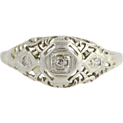 Art Deco Diamond Engagement Ring - 18k White Gold Old Mine Cut Genuine .04ctw