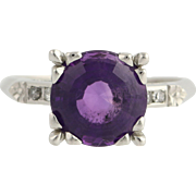 Amethyst & Diamond Ring- Platinum Feburary Birthstone Size 7 1/2 Genuine 3.36ctw