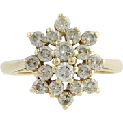 Diamond Cluster Cocktail Ring - 14k Yellow Gold Women's 6 1/2 Genuine .75ctw