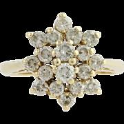 Diamond Cluster Cocktail Ring - 14k Yellow Gold Women's 6 1/2 Genuine .75ctw