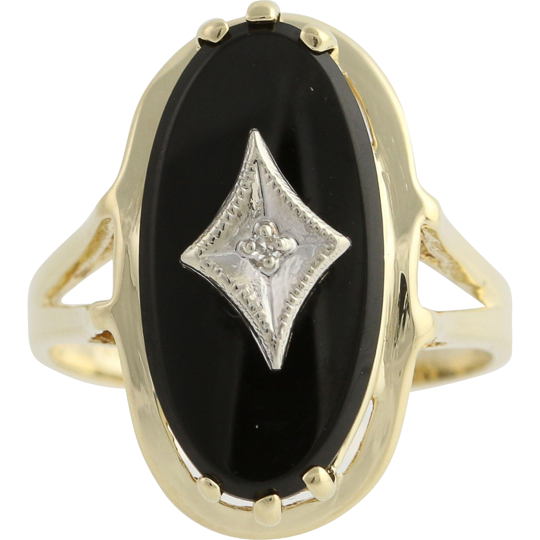 Vintage Onyx Ring w/ Diamond Accent 10k Yellow White Gold Women's Oval Solitaire
