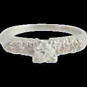 Retro Diamond Engagement Ring - 900 Platinum Old European Cut Genuine .44ctw