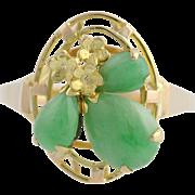 Floral Jadeite Cocktail Ring - 14k Yellow Gold Women's Size 6 Genuine 1.46ctw