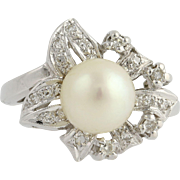 Retro Cultured Pearl & Diamond Cocktail Ring - 14k White Gold 5 Genuine .26ctw