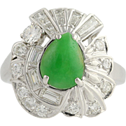 Vintage Jadeite & Diamond Cocktail Ring - 14k White Gold Size 6 Genuine 1.62ctw