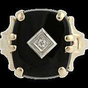 Onyx & Diamond Ring - 14k Yellow & White Gold Women's Size 8 3/4 Genuine .04ctw