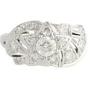 Retro Diamond Cocktail Ring - 14k White Gold Star Design 9 1/4 Genuine 1.23ctw