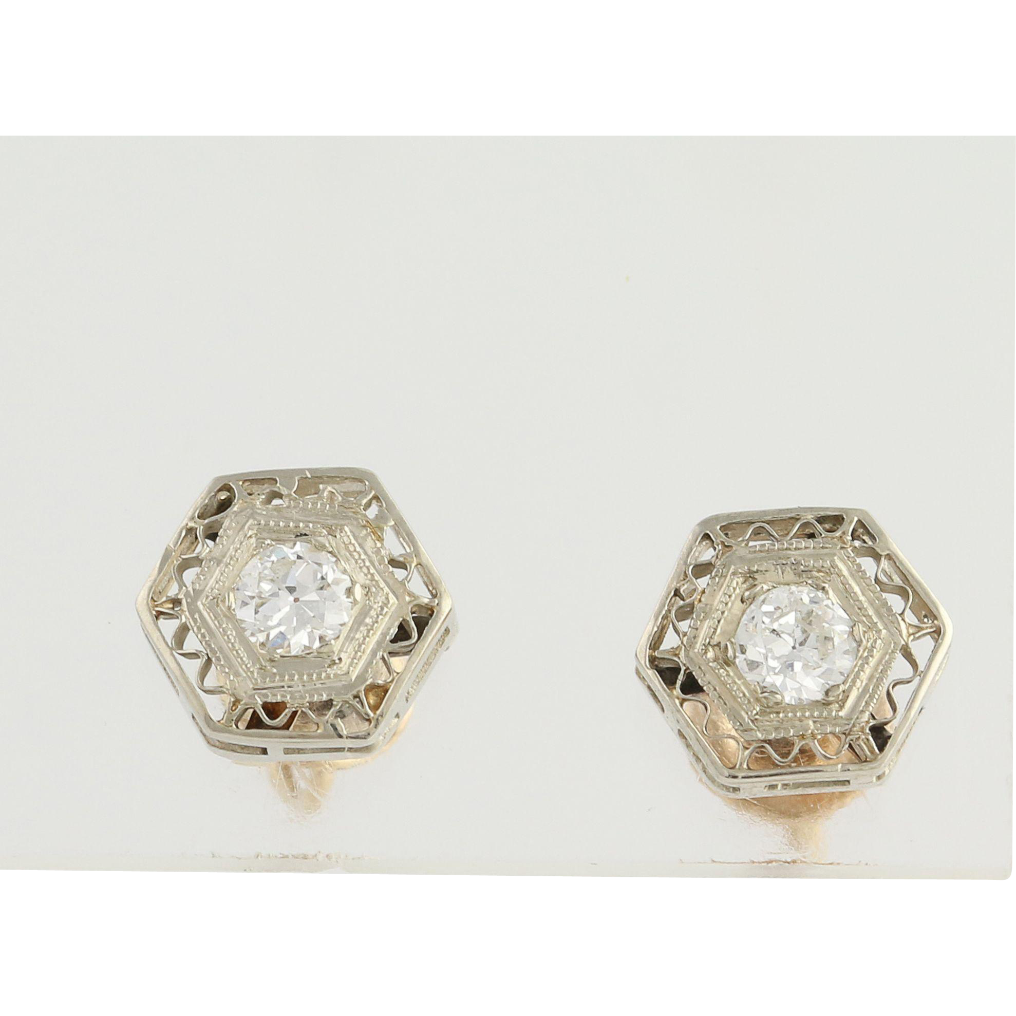 Art Deco Diamond Stud Earrings - 14k Yellow & White Gold Screw-On Backs .32ctw