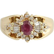 Ruby & Diamond Halo Ring - 14k Yellow Gold July Birthstone .75ctw