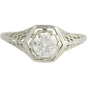 Art Deco Diamond Engagement Ring - 18k White Gold European Cut Genuine .60ctw