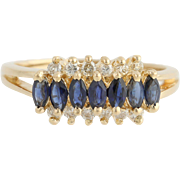 Sapphire & Diamond Ring - 18k Yellow Gold September High Karat Fine 1.09ctw