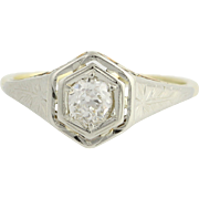 Art Deco Diamond Engagement Ring - 14k Yellow Gold & 18k White Gold Fine .35ctw