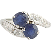 Retro Sapphire & Diamond Bypass Ring - 14k White Gold September Genuine 2.11ctw