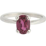 Ruby Solitaire Ring - 14k White Gold July Birthstone 5 3/4 - 6 Genuine 1.38ctw
