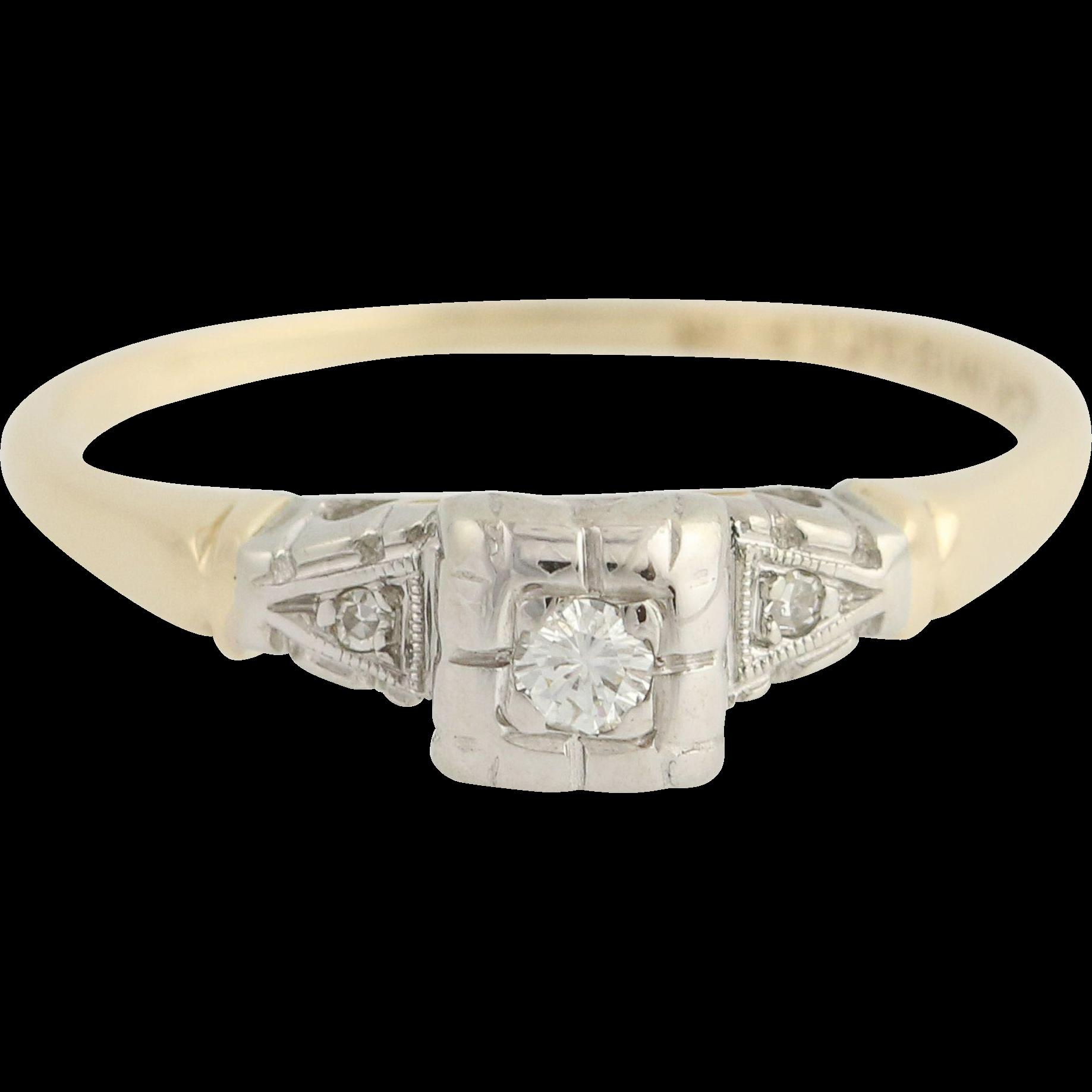 Vintage Diamond Engagement Ring - 14k Yellow & White Gold 6 1/2 Genuine .07ctw Unique Engagement Ring