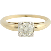 Vintage Diamond Engagement Ring - 14k & 18k Gold Solitaire Size 6 Genuine .52ctw