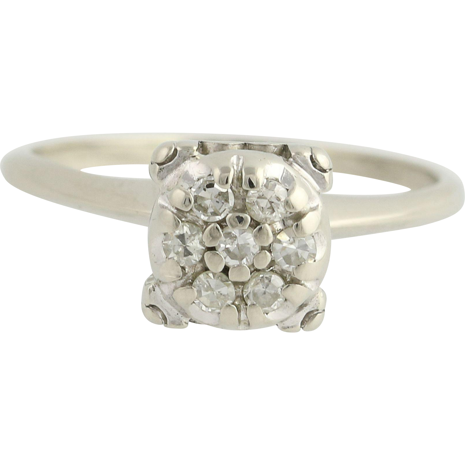 Retro Diamond Engagement Ring - 14k White Gold 1940s - 1950s Genuine .18ctw