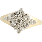Diamond Cluster Cocktail Ring - 14k Yellow & White Gold 4 1/4 Genuine .50ctw