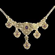"Krementz Victorian Revival Amethyst & Pearl Necklace 14 3/4"" - 14k Gold 5.50ctw"