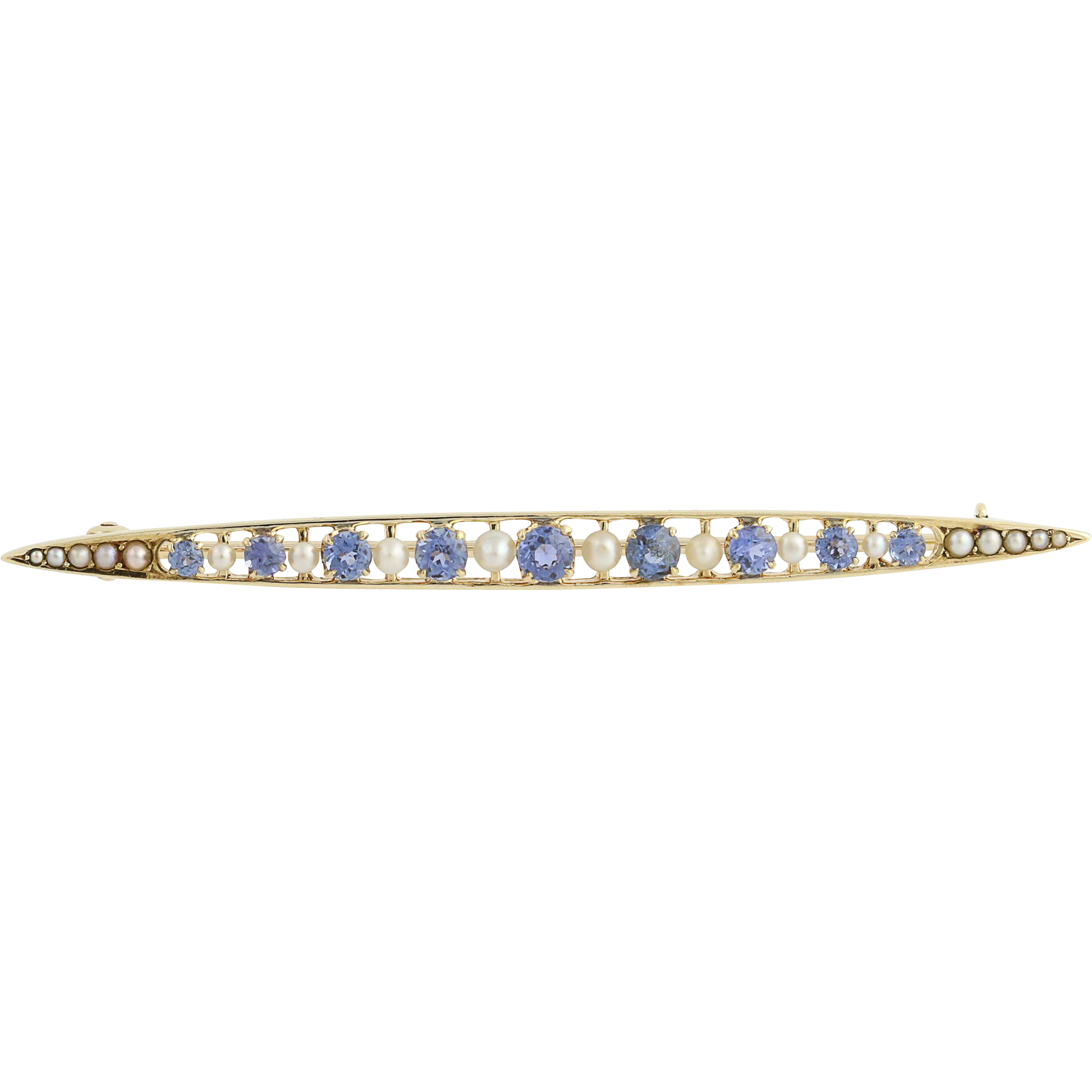 Edwardian Era Sapphire & Seed Pearl Brooch - 14k Yellow Gold Genuine 1.04ctw