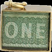 Vintage Emergency Funds Charm - British 1 Pound Bank Note Folded 9k Yellow Gold