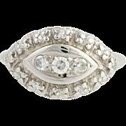Retro Diamond Cocktail Ring - 14k White Gold Women's Size 4 1/2 Genuine .28ctw