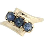 Three-Stone Sapphire Bypass Ring- 10k Yellow Gold September 4 3/4 Genuine .84ctw
