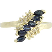 Sapphire & Diamond Bypass Ring - 14k Yellow Gold September 6 3/4 Genuine .72ctw