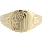 Engravable Vintage Ring - 9k Yellow Gold Women's Fine Estate Floral Solid Band