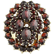 Vintage Garnet Cluster Cocktail Ring - 14k Yellow Gold January Genuine 5.30ctw
