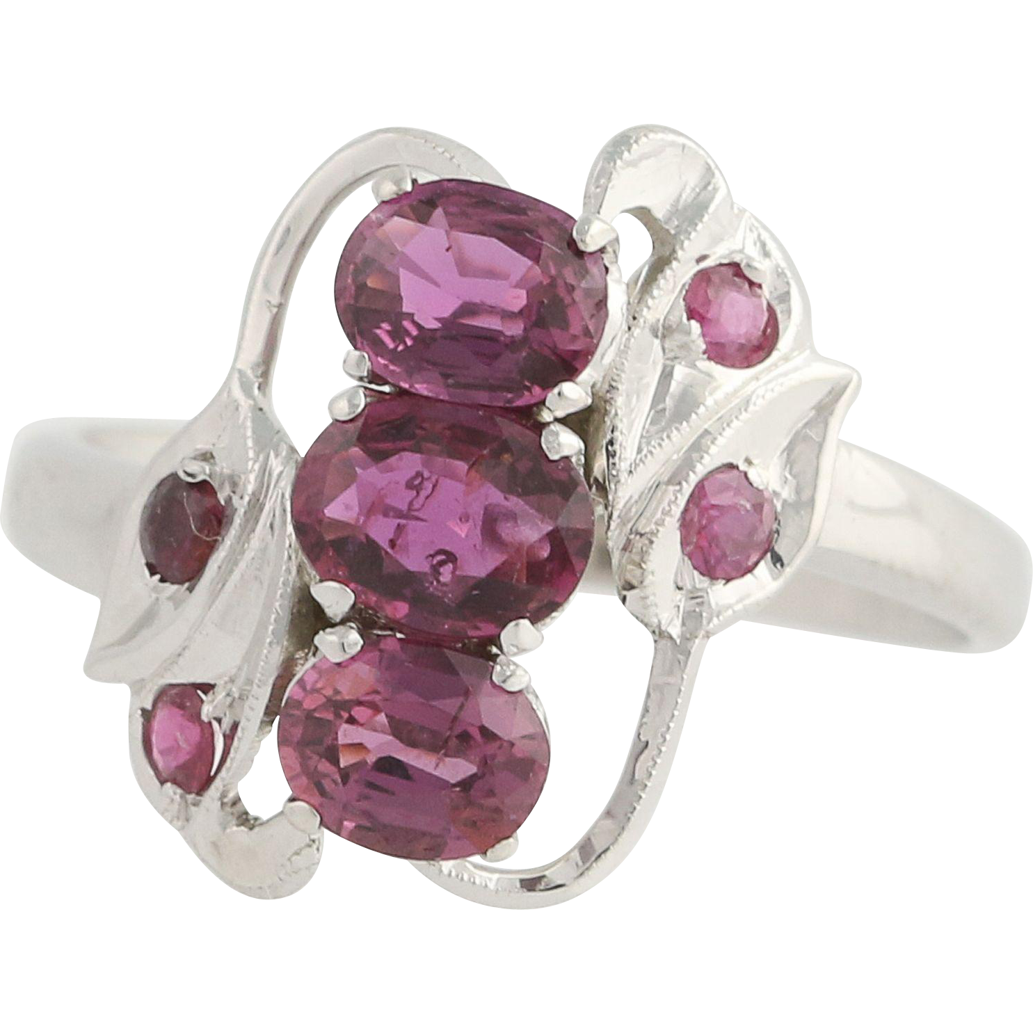 Vintage Ruby Bypass Ring - 10k White Gold July Birthstone Gift Genuine 1.87ctw