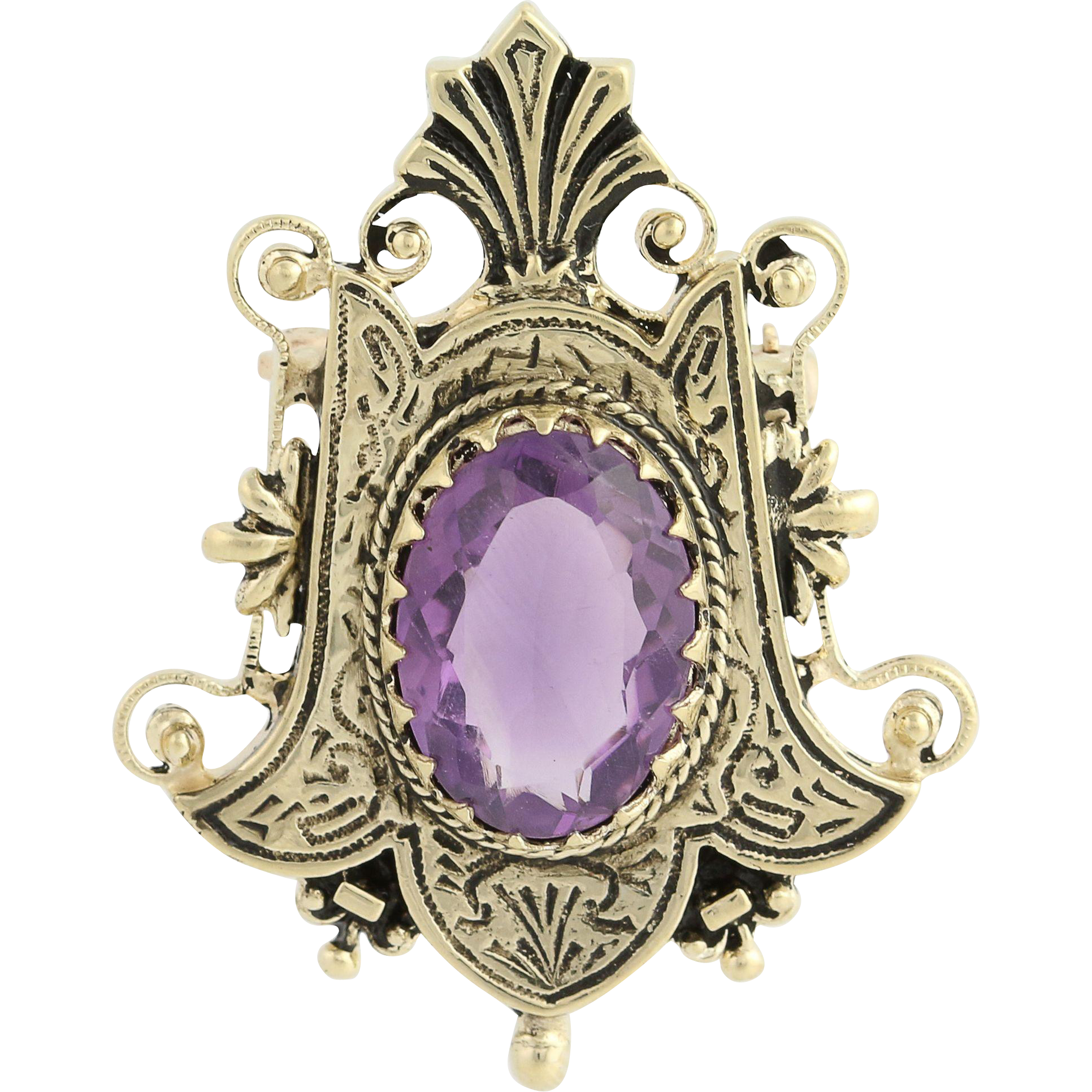 Victorian Revival Amethyst Brooch / Pendant - 14k Yellow Gold Genuine 6.50ctw