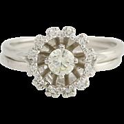 Vintage Diamond Wedding Set - 14k White Gold Orange Blossom Genuine .53ctw