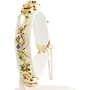 "Vintage Slide Bracelet 6 1/2"" - 14k Yellow Gold Gemstones, Pearls, Lava Cameo"