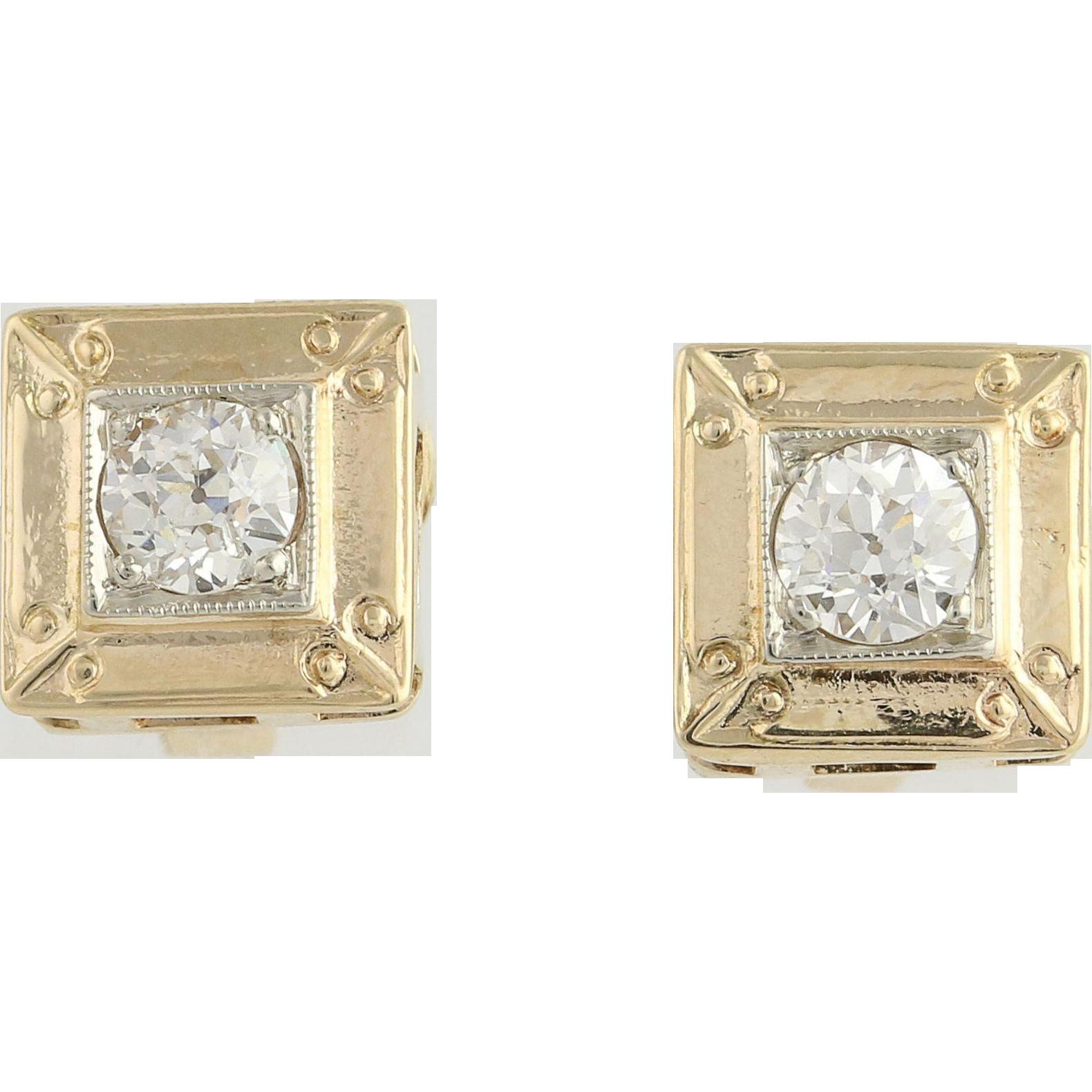 Art Deco Diamond Stud Earrings - 14k Yellow & White Gold Pierced Genuine .52ctw