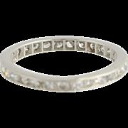 Art Deco Diamond Wedding Band - Platinum Eternity Style 4 3/4 - 5 Genuine .90ctw