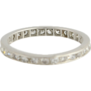 Art Deco Diamond Wedding Band - Platinum Eternity Style 4 3/4 - 5 Genuine .90ctw